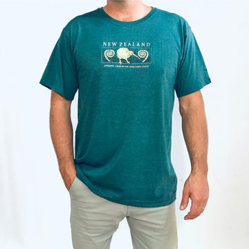 Men's teal New Zealand t-shirt with kiwi and fern koru embroidery. Wild Kiwi. www.wild-kiwi.co.nz