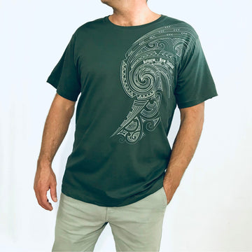Men's Green cotton tee with tattoo print. Wild Kiwi New Zealand. www.wild-kiwi.co.nz