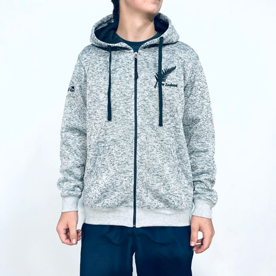 Men's warm grey marl fleece lined zip through hooded jacket. www.wild-kiwi.co.nz
