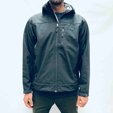 Men's grey soft shell hooded jacket. Water resistant fabric. www.wild-kiwi.co.nz