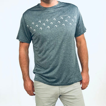 Men's Grey Marl Active Fit T-Shirt featuring Kiwi print. www.wild-kiwi.co.nz