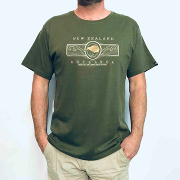 Men's T-Shirt Embroidered Kiwi Koru 165KA
