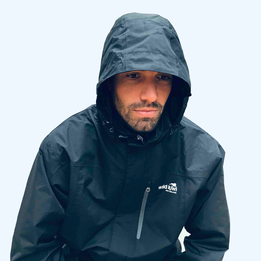 Men's navy blue storm jacket, best raincoat, nylon ripstop, waterproof to 3000mm. www.wild-kiwi.co.nz