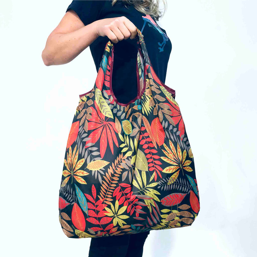 3 pack of reusable packable shopper bags. Fern, Kiwis and Koru designs. wild-kiwi.co.nz