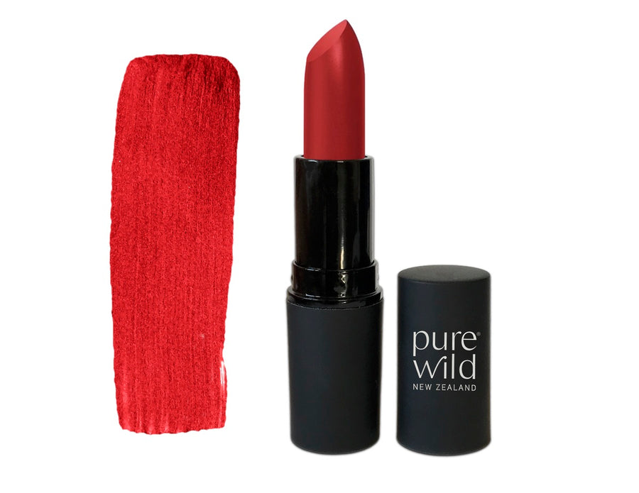 Red Lava Scarlet Lipstick. Pure Wild®. Made in New Zealand