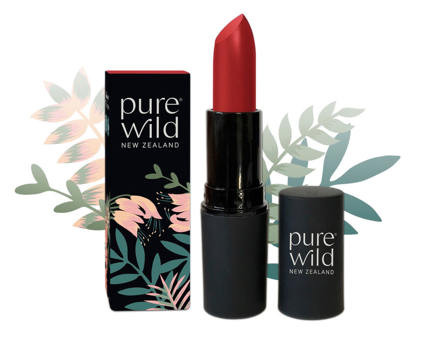 Natural Lipstick. Red Lava Scarlet Lipstick. Pure Wild®. Made in New Zealand