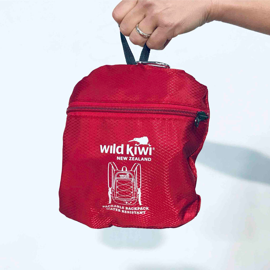 Packable Backpack Red Foldable Daypack | Wild Kiwi NZ