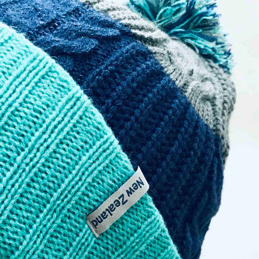 Reversible Beanie with Removable Pom Pom Turquoise 365B