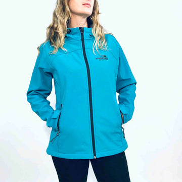 Women's blue hooded soft shell jacket with charcoal grey lining. Water resistant fabric. www.wild-kiwi.co.nz