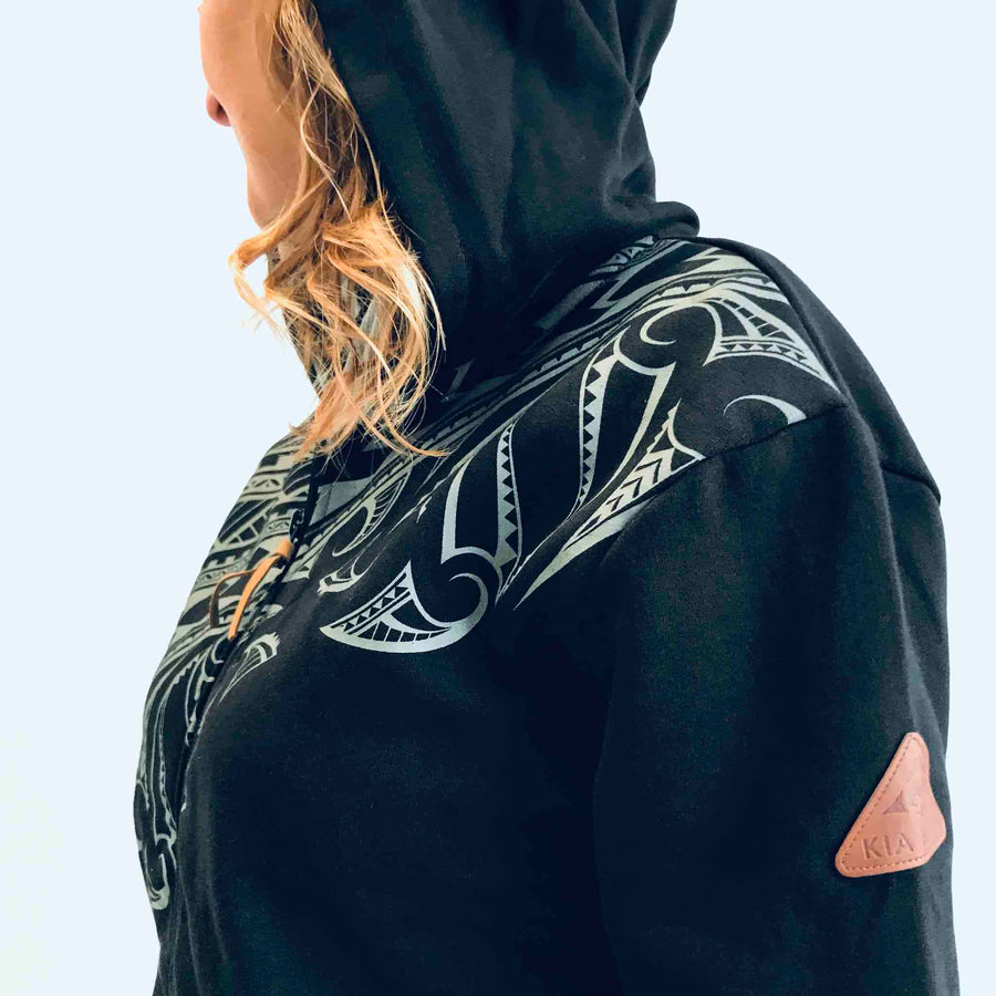 women's black hoodie wth maori design - kia-kaha new zealand