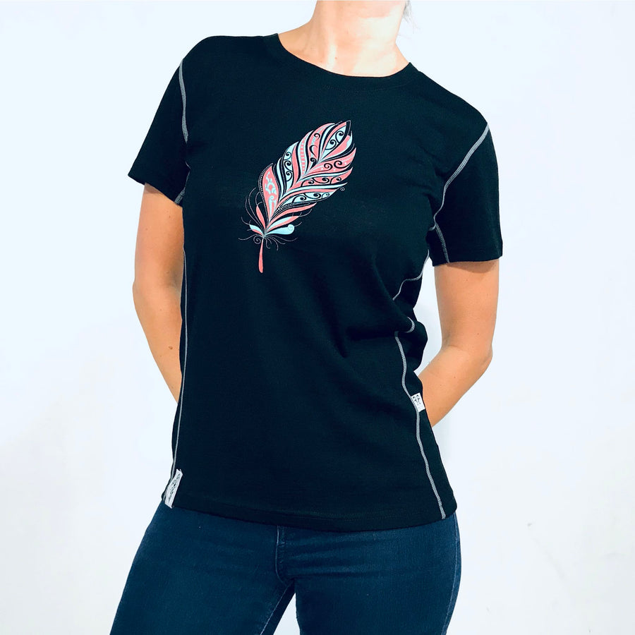 Women's Kia Kaha black merino tee with feather print