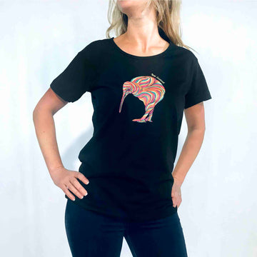 Women's Rainbow Kiwi T-shirt Black 657KP