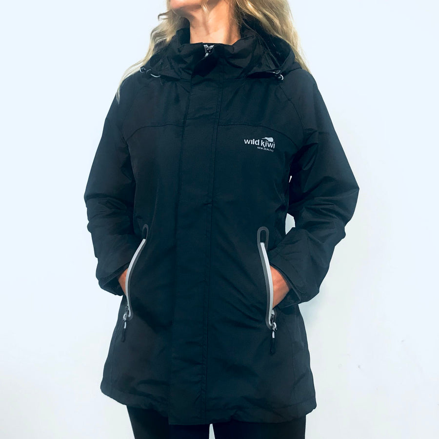 Women's Black Storm Jacket-Rain Coat-www.wild-kiwi.co.nz