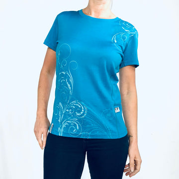 Women's Kia Kaha blue merino tee with koru print