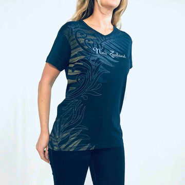 Women's Ferns & Koru T-shirt Navy Blue 659KP
