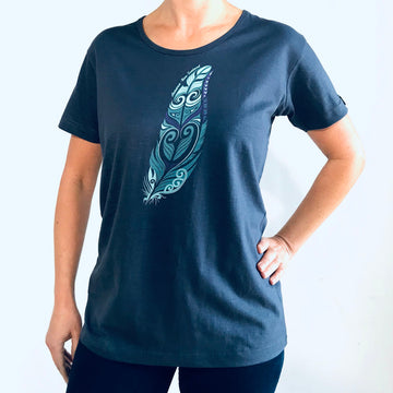 Women's Blue New Zealand T-Shirt. Feather print-www.wild-kiwi.co.nz