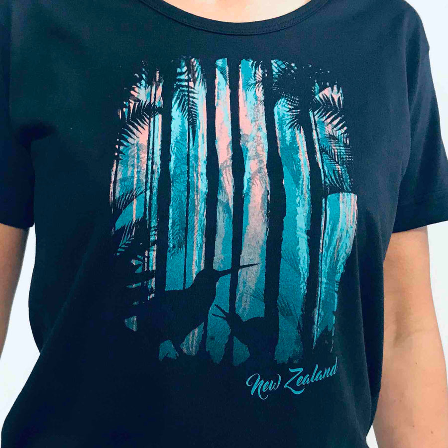 Women's New Zealand T Shirt Bush Kiwi Midnight Blue
