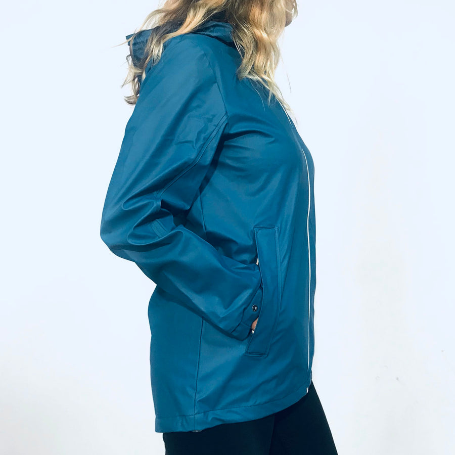 Women's Blue Rain Jacket. Wild Kiwi Clothing. New Zealand. www.wild-kiwi.co.nz