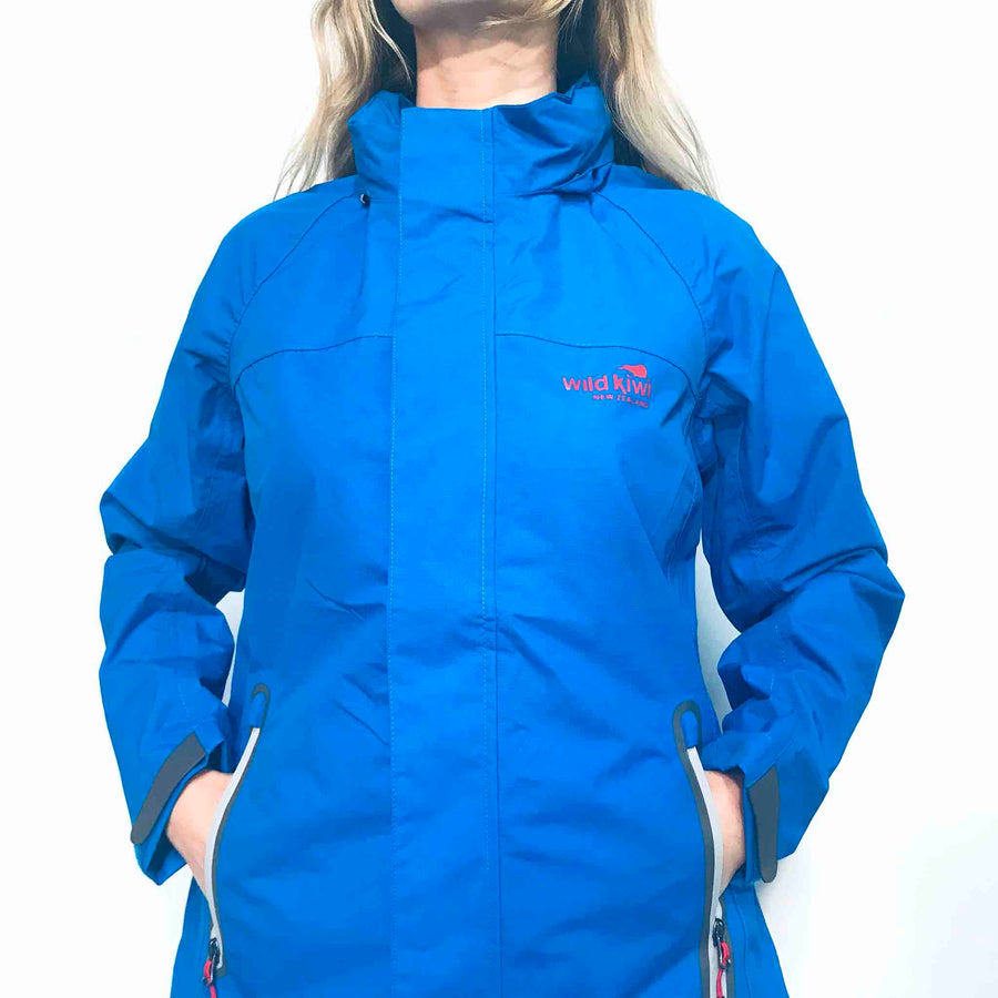 Women's Blue Storm Jacket-raincoat-New Zealand. www.wild-kiwi.co.nz