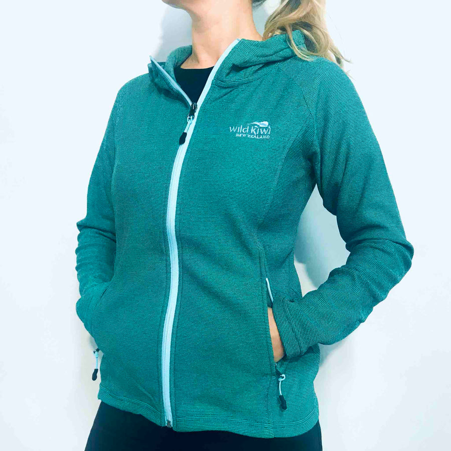 Women's Green Micro fleece Hoodie. Designed in New Zealand. www.wild-kiwi.co.nz