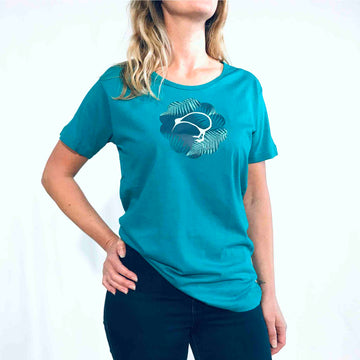 Women's Kiwi & Ferns T-shirt Jade Green 125KP