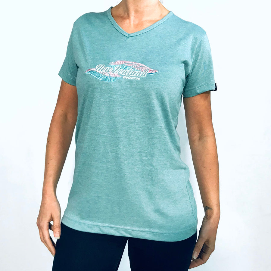 Women's green marle New Zealand t-shirt with NZ feathers embroidery. Wild Kiwi. www.wild-kiwi.co.nz