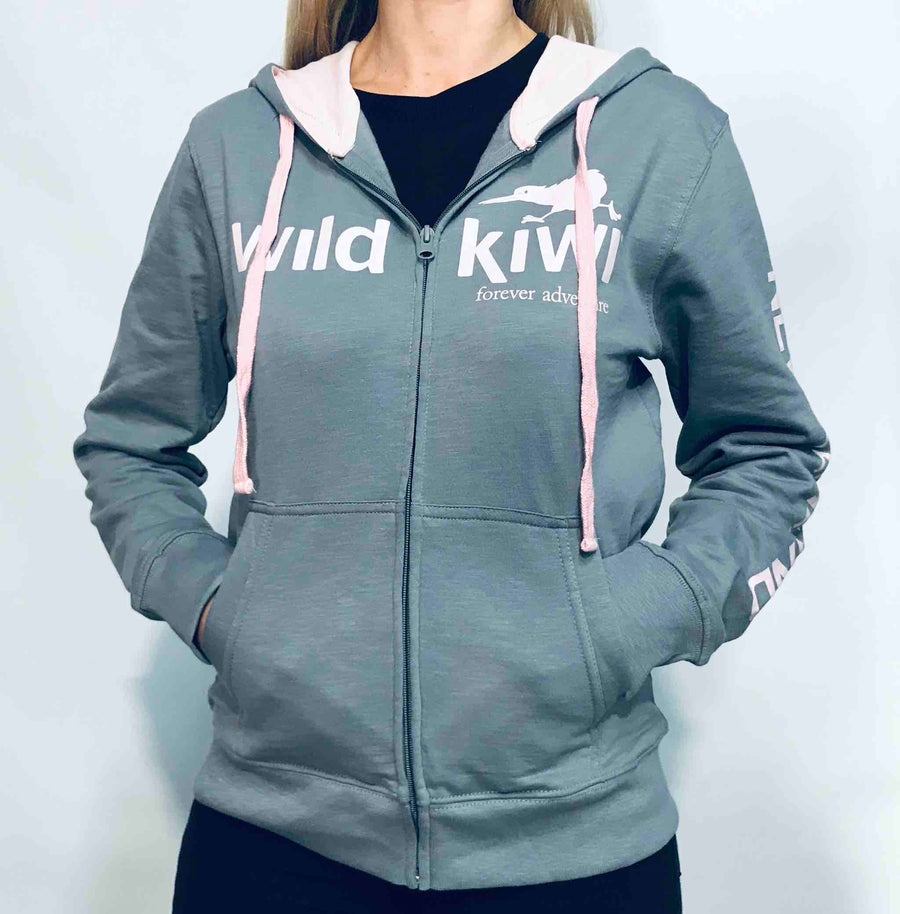 Women's Grey Zip Through Hoodie. Wild Kiwi Clothing, New Zealand. www.wild-kiwi.co.nz