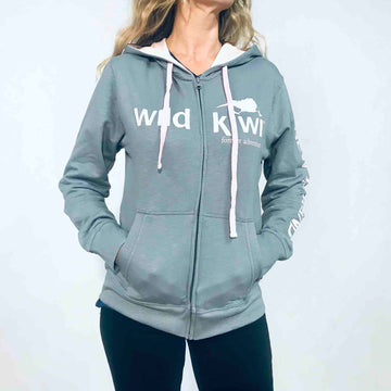 Women's Grey Zip Through Hoodie 88SH