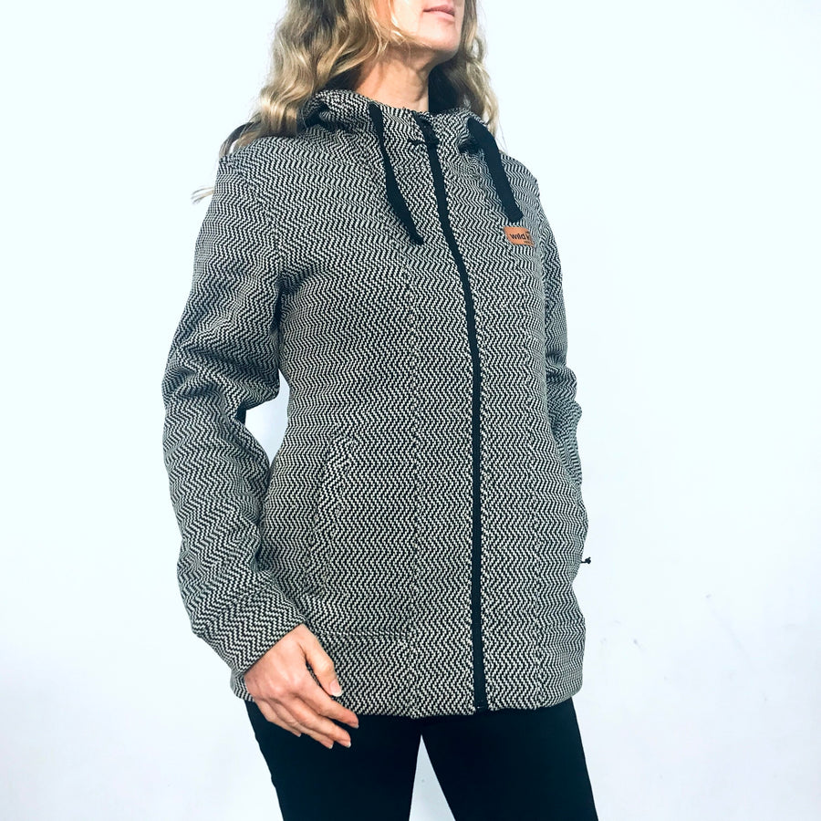 Women's matrix hoodie with zig zag weave. Knit fleece warm zip through hoodie. www.wild-kiwi.co.nz