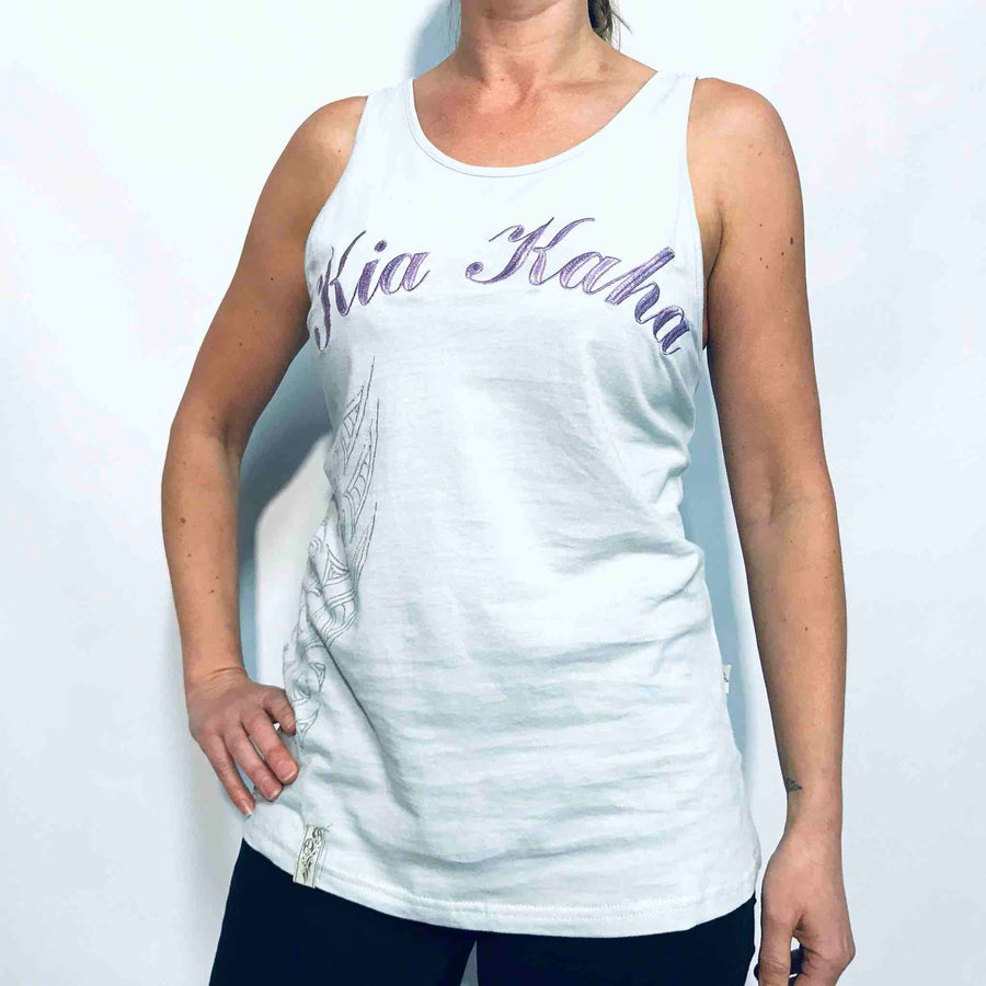 Women's baby blue Kia Kaha New Zealand cotton singlet with appliqué logo and side print.