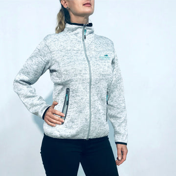 Women's warm grey marle fleece lined zip through jacket. www.wild-kiwi.co.nz