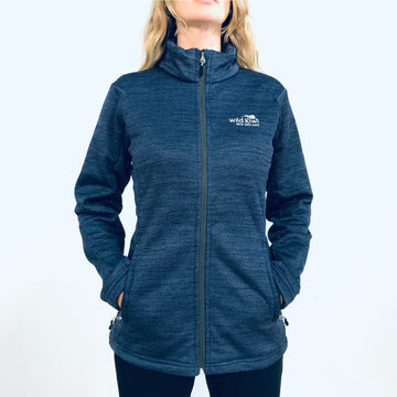 Women's warm navy blue fleece lined zip through jacket. www.wild-kiwi.co.nz