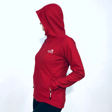 Women's red micro fleece hoodie. Lightweight, warm jacket. www.wild-kiwi.co.nz