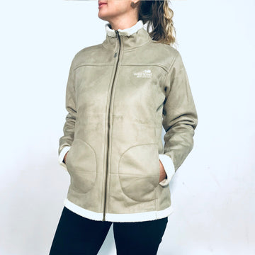 Women's tan sherpa fleece jacket. Warm winter polar fleece jacket lined with sherpa fleece. www.wild-kiwi.co.nz