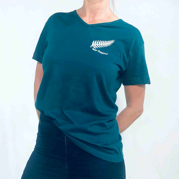 Women's Embroidered Fern T-shirt Teal Green 656KP
