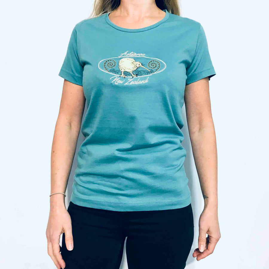 Women's T-Shirt Embroidered Kiwi 59FT