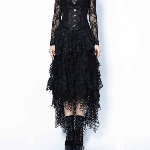 Dark in Love Skirts Fishnet & Lace Asymmetrical Skirt