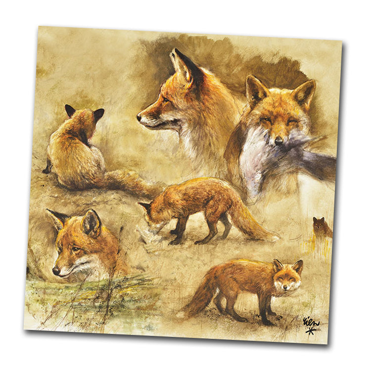 Portrait of Foxes Luncheon Napkins