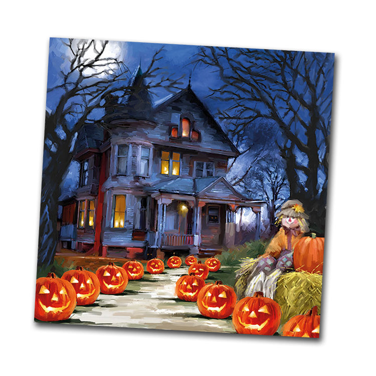 Haunted House Halloween Beverage Napkins