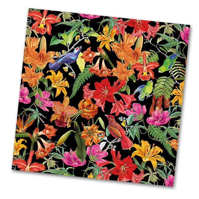 Paradise Birds Paper Luncheon Napkins - Black