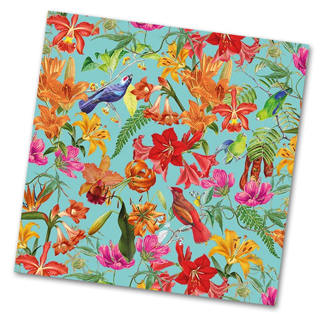 Paradise Birds Paper Luncheon Napkins - Blue