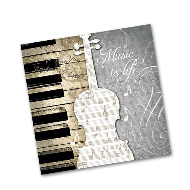 Music is Life Paper Beverage Napkins