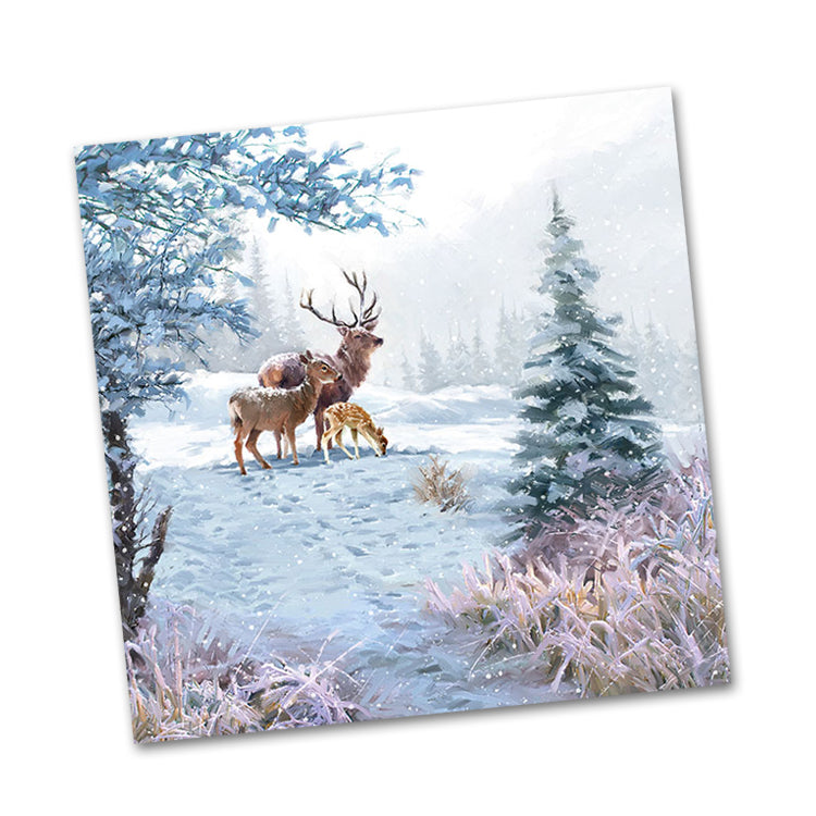 Winter Deer Family Beverage Napkins