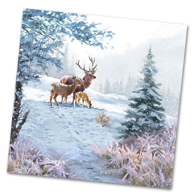 Winter Deer Family Luncheon Napkins