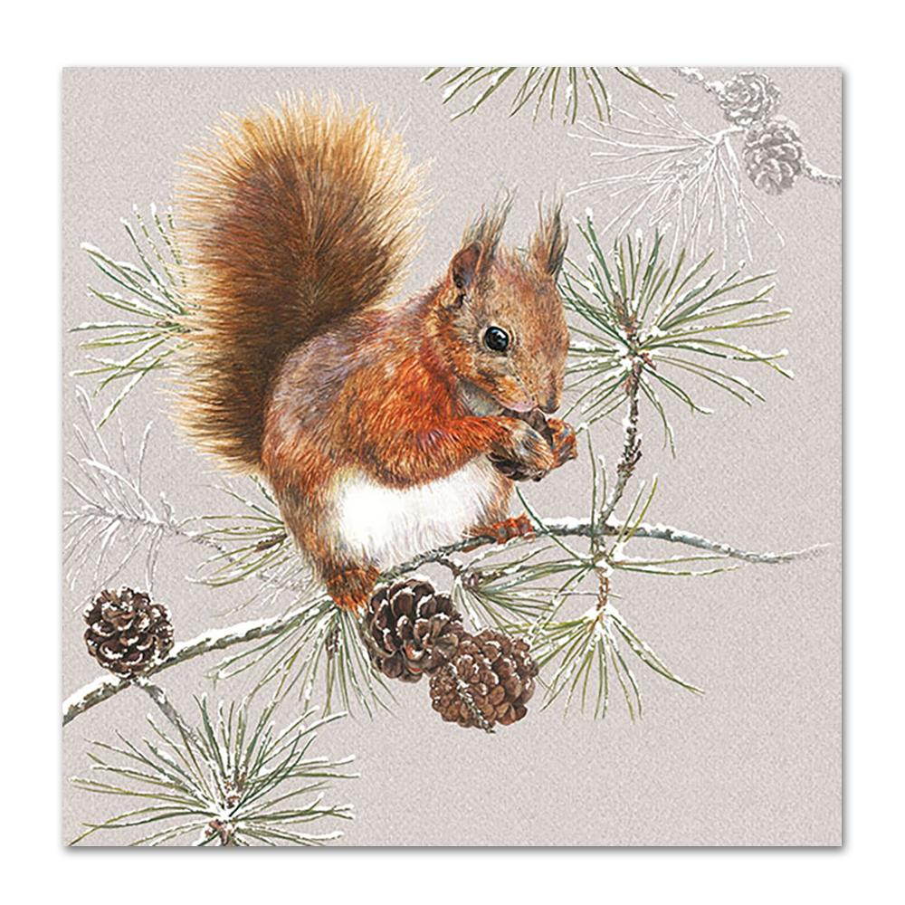 Squirrel In Winter Paper Napkins - Luncheon