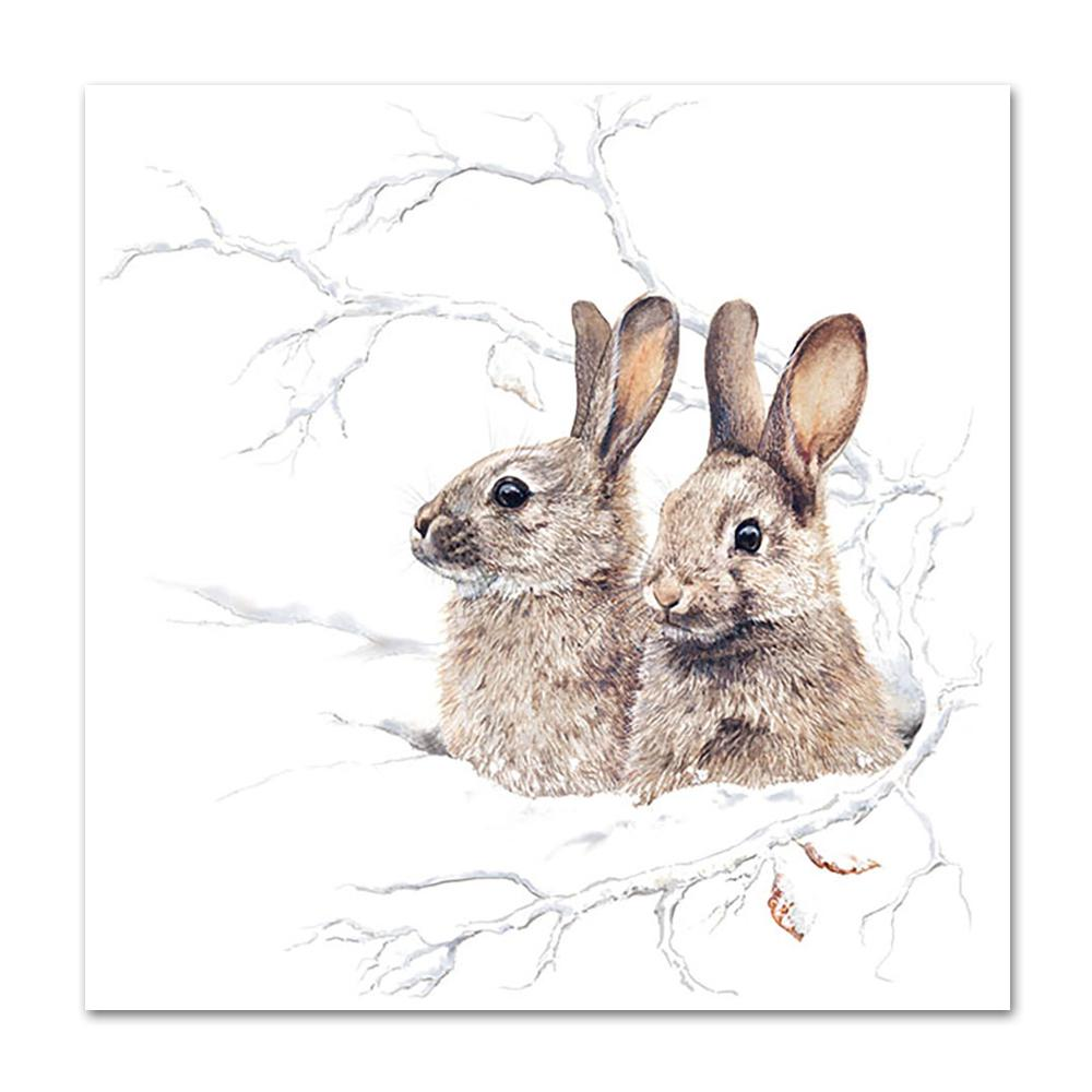 Winter Morning Rabbits Paper Napkins - Luncheon