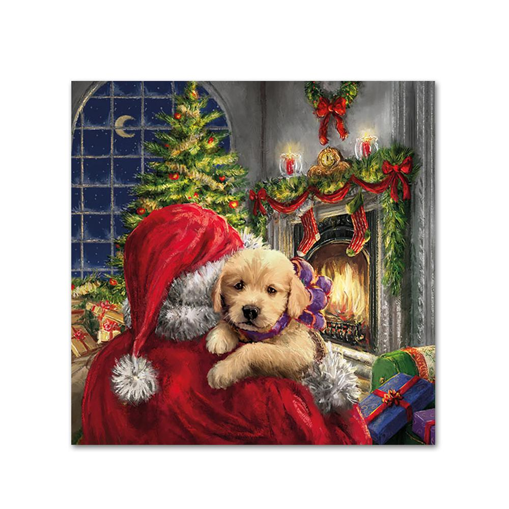 Puppy and Santa Paper Napkins - Beverage