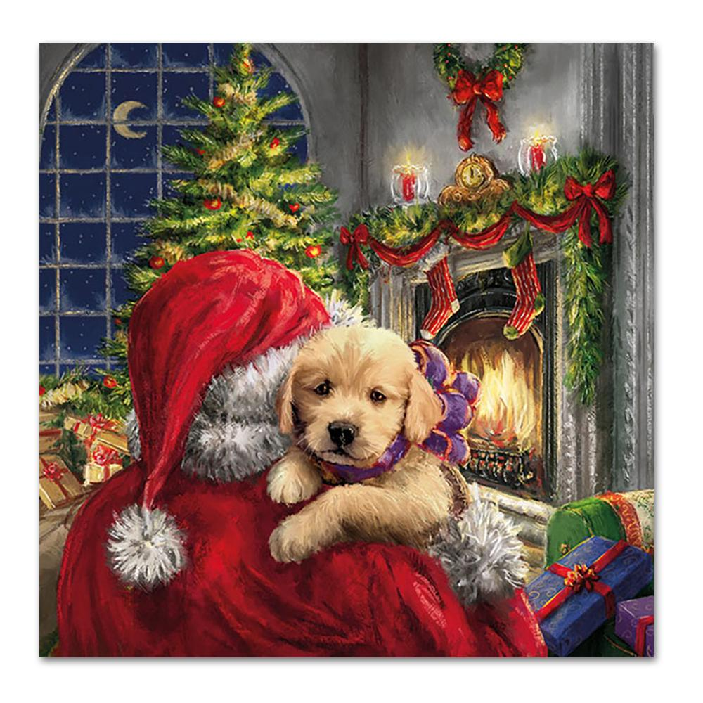 Puppy and Santa Paper Napkins - Luncheon