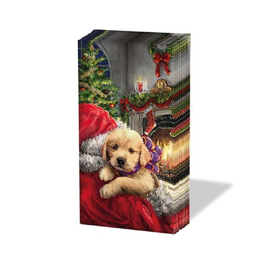 Puppy and Santa Paper Pocket Tissues