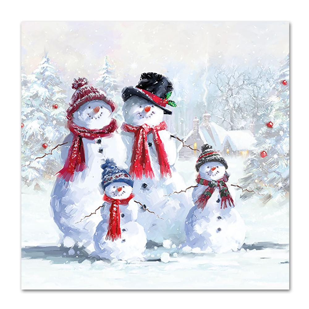 Snowman Family Paper Napkins - Luncheon
